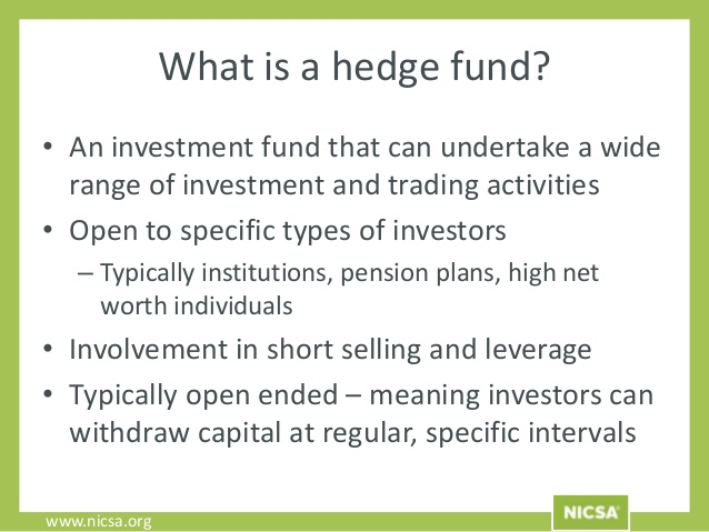 Definizione di hedge fund