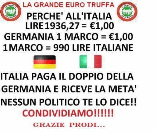 Bufale cambio Marco Euro