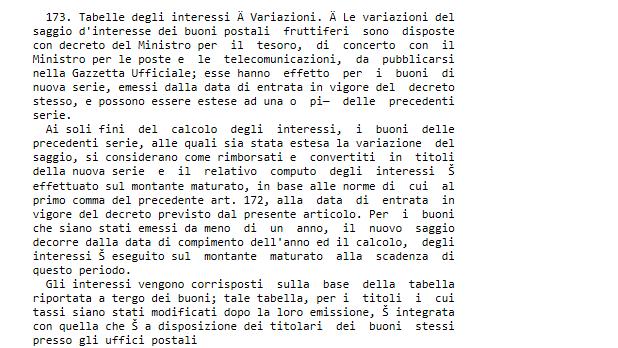 articolo 173 codice postale